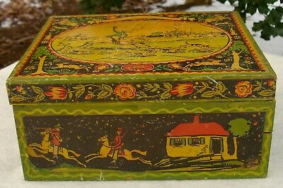 1930's ANTIQUE TONY SARG NANTUCKET ARTIST PAPER LITO DECORATED FOX HUNT BOX