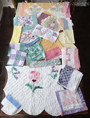 Great Cutter Vintage SPRING COLORS 1930s QUILT Lot 20 Pieces ~ Crafters Lot