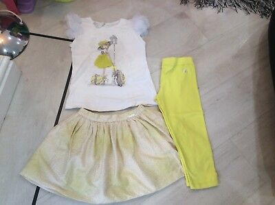 Girls Designer Mayoral Outfit Skirt Leggings And Top Age 5 Years