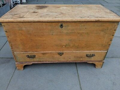 Antique Victorian Vintage Old Pine Chest / Wooden Trunk / Blanket Box
