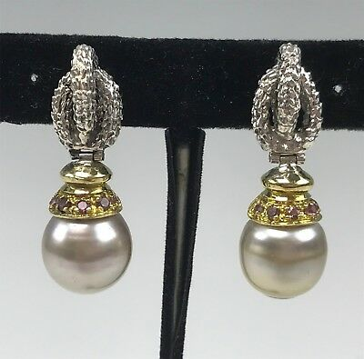 Sterling Silver & 18k Yellow Gold South Seas Pearl Earrings w/ Pink Tourmalines