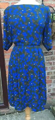 Toast Blue yellow Dark Green Lined Floral Vintage Tea Dress L 16 18 with pockets