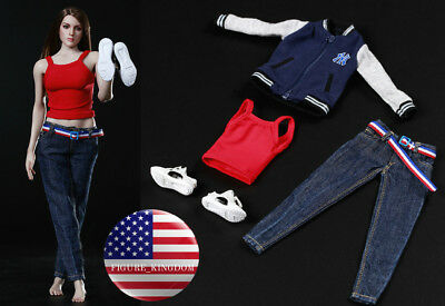 "1/6 Baseball Jacket Tank Top Jeans Set For 12"" PHICEN Hot Toys Female Figure USA"