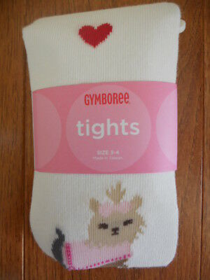 NWT Gymboree New York Girl Yorkie Yorkshire Terrier Dog w Hearts  ~ TIGHTS 3-4 ~