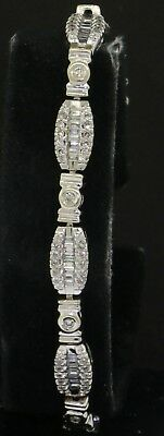 14K white gold elegant 3.0CT VS-SI/G diamond cluster tennis bracelet