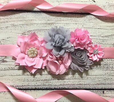 Pink And Gray Maternity Sash Belt Baby Shower Vintage Belt Flower