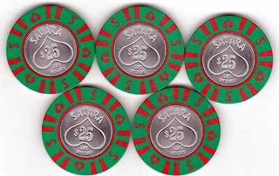 Five $25 Sahara Las Vegas, Nv Casino Chips-Coin Center