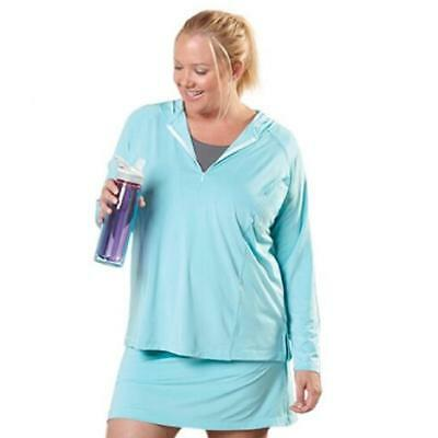 Live Life Large 8337 Womens Blue Hooded 1/4 Zip Shirt Top Plus 1X BHFO