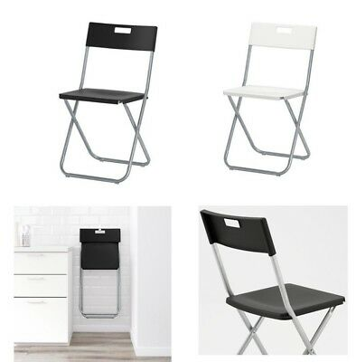ikea gunde folding chair black white desk dining table space saver computer picclick uk. Black Bedroom Furniture Sets. Home Design Ideas