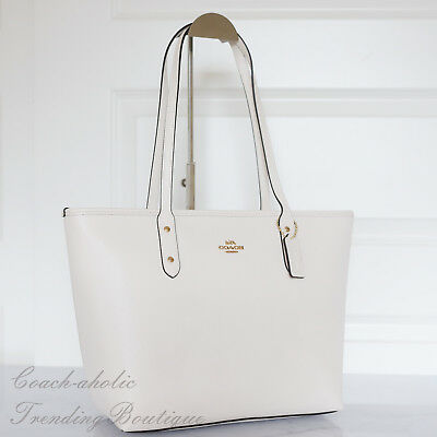 New Coach F58846 Crossgrain Leather City Zip Top Tote Shoulder Bag in Chalk ef0857f82c