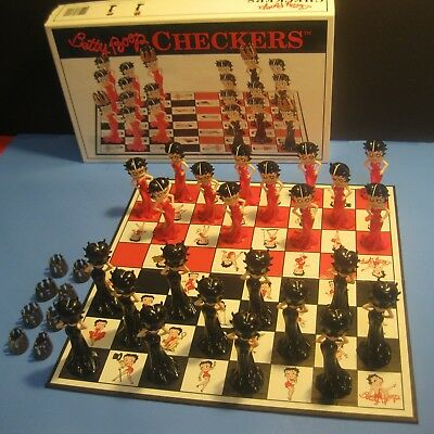 """""""BETTY BOOP"""" CHECKERS SET in fine shape ~ neat functional COLLECTIBLE game!"""