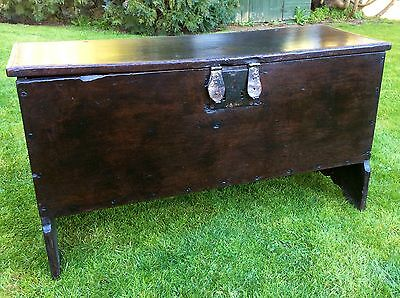 16th 17th Century Solid Oak 6 Plank Chest with Extremely Rare Double Hasp Lock.