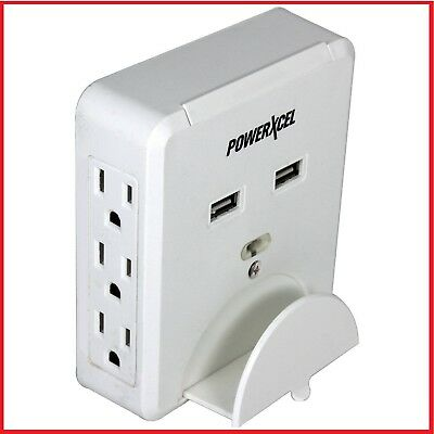 PowerXcel 6-Outlet Wall-Mounted Power Center with Dual USB Ports & Device Holder