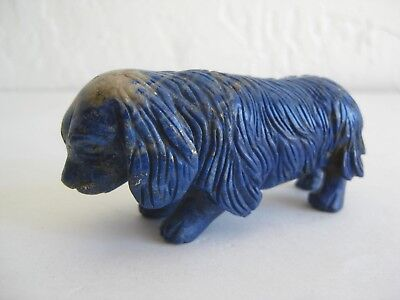 Fine Old Chinese Lapis Lazuli Cocker Spaniel Dog Carving Sculpture Figurine 148g