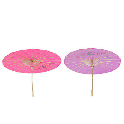 Vintage Chinese Cloth Bamboo Craft Floral Umbrella Parasol Rose Red+Purple