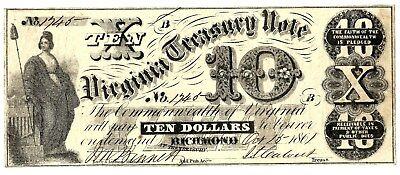 Scarce 1861 Early Va Treasury Note - Obsoletes