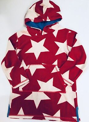 MINI BODEN Boys size 5-6 StarToweling Hooded Top Cover Up swimwear Red White Blu