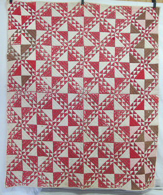"""Antique c 1899 Hand Pieced & Quilted 7 Red & White Ocean Waves Quilt 78""""x64"""" yqz"""