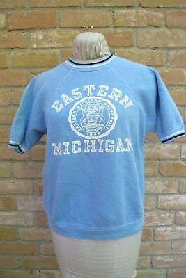 Vintage 60's CHAMPION Goal Runner S/S Sweatshirt EASTERN MICHIGAN UNIV;  Good!