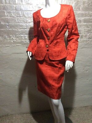 Christian Lacroix Brocade 2 Pc Skirt Suit Set  Unique Buttons sz 40