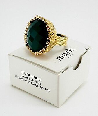 Vintage MARK AVON BIJOU Peacock Blue Faceted Stone Gold Tone Costume Ring w Box