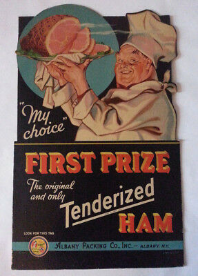 Vintage FIRST PRIZE HAM Easel Cardboard Advertising Sign Albany NY 1939