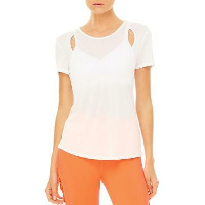 Alo Yoga 6103 Womens Astra White Modal Cut-Out Shirts & Tops L BHFO