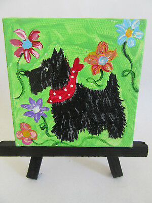 HAND PAINTED ART~~~~BLACK SCOTTISH Terrier BLOOMING FLOWERS~~~CANVAS PAINTING