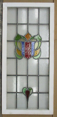 """LARGE OLD ENGLISH LEADED STAINED GLASS WINDOW Colorful Abstarct 21"""" x 34"""""""