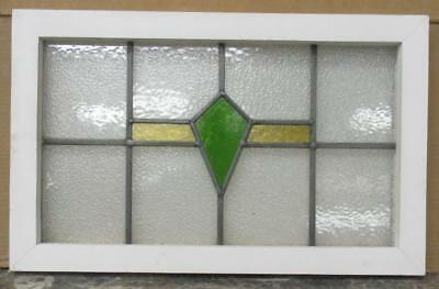 "MID SIZED OLD ENGLISH LEADED STAINED GLASS WINDOW Nice Geometric 22.75"" x 14.25"""