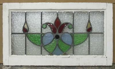 """MID SIZED OLD ENGLISH LEADED STAINED GLASS WINDOW Vintage Floral 27.25"""" x 15.5"""""""