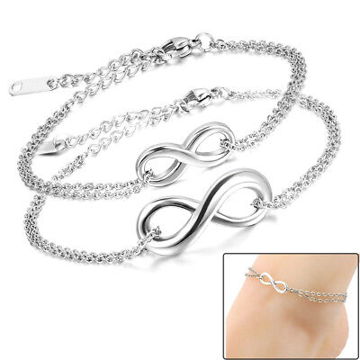 "Men Women Charm Infinity Love Symbol ""8"" Stainless Steel Chain Anklet Bracelet"