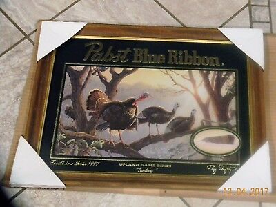 Pabst Blue Ribbon Beer Mirror Sign WILD TURKEY Hunting Upland Game Bird PBR MINT