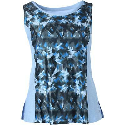 Marika Curves 9220 Womens Riley Blue Quick Dry Tank Top Athletic Plus 3X BHFO