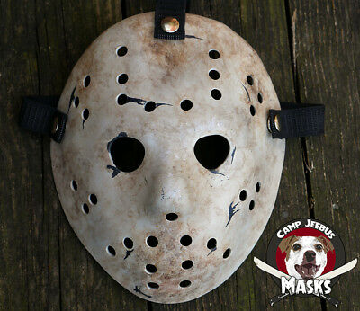 """Friday the 13th Never Hike Alone """"Film Accurate"""" Hand painted Jason Hockey Mask"""