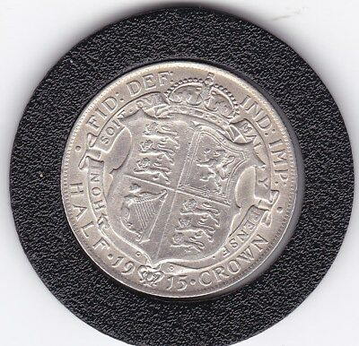 Very Sharp  1915   King  George V  Half  Crown  (2/6d) -  Silver  (92.5%)  Coin