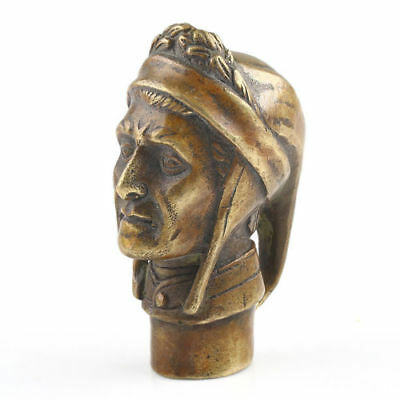 Old Bronze Hand Carved ( poet Dante ) Statue Walking Stick Head Statues