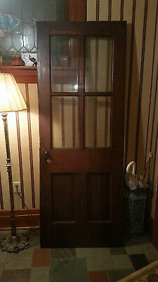 Antique Vintage Glass Panel Wood Door