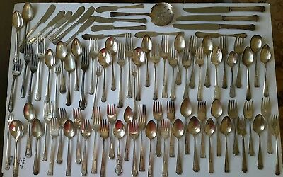 Vintage Silverplate Flatware Mixed Lot Of 83 Forks And Spoons