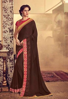 Indian Designer Brown Embroidered Bollywood Sari Georgette Party Wear Saree
