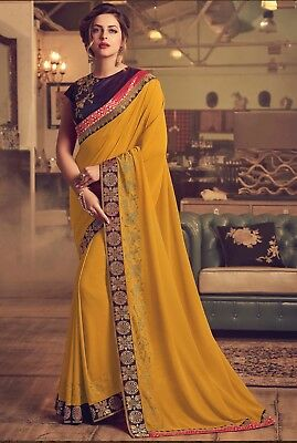 Indian Designer Yellow Embroidered Bollywood Sari Georgette Party Wear Saree