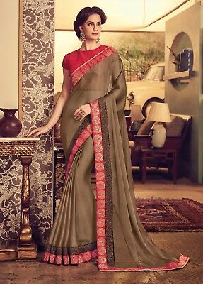 Indian Designer Brown Embroidered Bollywood Style Sari Chiffon Party Wear Saree