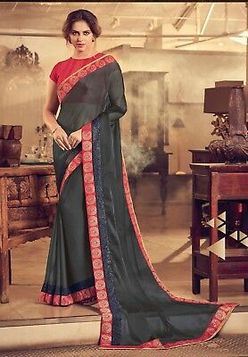 Indian Designer Grey Embroidered Bollywood Style Sari Chiffon Party Wear Saree