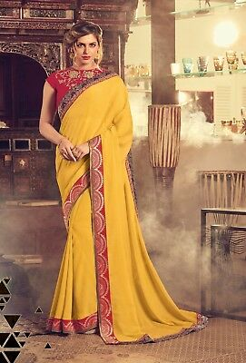 Indian Yellow Designer Embroidered Bollywood Sari Georgette Party Wear Saree