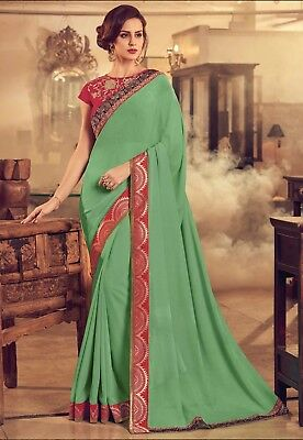Indian Green Designer Embroidered Bollywood Style Sari Chiffon Party Wear Saree