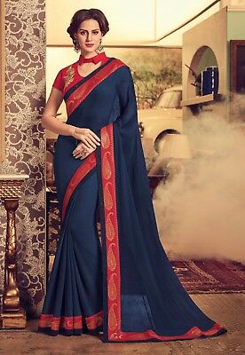 Indian Navy Blue Designer Embroidered Bollywood Sari Chiffon Party Wear Saree