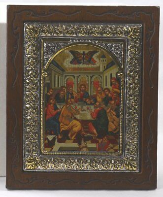 "Old Byzantine LAST SUPPER 950% Sterling Silver Clad 9""x7.5"" Frame 24Ktgp COA"