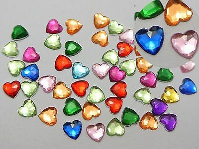 500 Mixed Color Acrylic Faceted Heart Flatback Rhinestone Gems 6X6mm