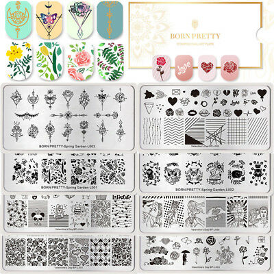 BORN PRETTY Nail Stamping Plates Rose Flower Valentine Nail Art Image Templates