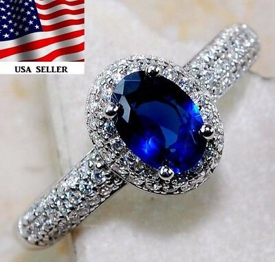 Blue Sapphire & White Topaz 925 Solid Genuine Sterling Silver Ring Jewelry Sz 7